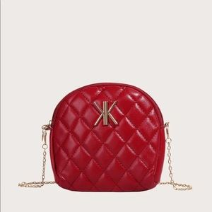 Handbags - Metal Decor Quilted Red Crossbody Bag